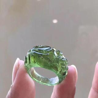 【高級】グリーン トルマリン リング 16.8mm(リング(指輪))