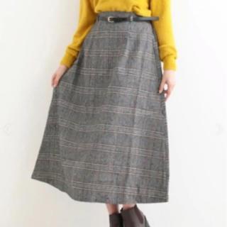 マジェスティックレゴン(MAJESTIC LEGON)の合皮ベルト付チェックロングスカート(ひざ丈スカート)