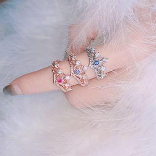 ピンククリスタルゴールドティアラリング♡指輪 量産型 地雷ジャスティンジャニオタ(リング(指輪))