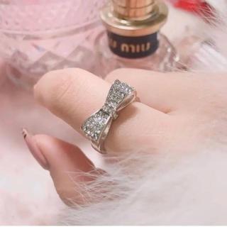 りぼんリング 地雷系 量産型 ピンク 指輪 夢かわいい シルバー(リング(指輪))