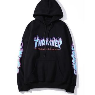 THRASHER - THRASHERスラッシャーパーカー ブラック✖️ブルー