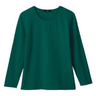 ディーエイチシー(DHC)の《新品》DHC グリーン なめらか起毛クルーネックカットソー(Tシャツ(長袖/七分))