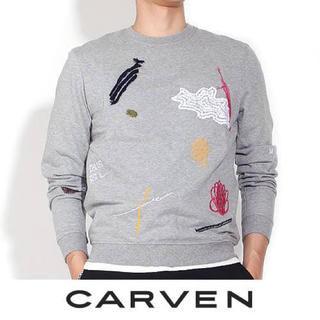 カルヴェン(CARVEN)のcarvenメンズ 刺繍トレーナー グレー スウェットS (スウェット)