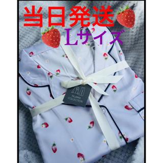 GU - GU サテンパジャマ いちご柄 長袖 Lサイズ