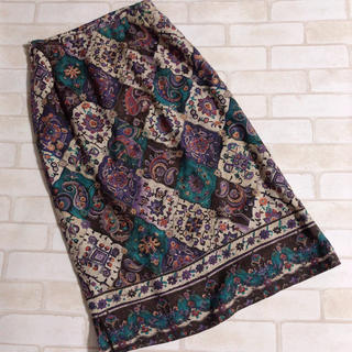 Lochie - オリエンタル 昭和レトロ ウール混 古着 紫 青緑系 ロングスカート