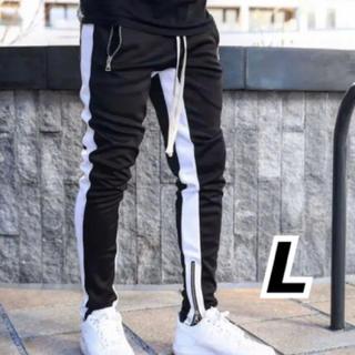 韓国ファッション ストレッチ ジョガーパンツ ラインパンツ ブラック L(その他)