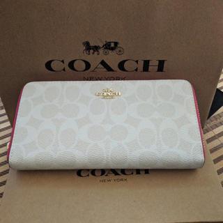 COACH - coach長財布 ホワイトピンク