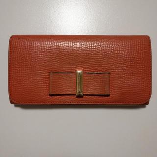 クロエ(Chloe)のクロエ CHLOE 長財布 レザーボウ リボン オレンジ /mm レディース(財布)