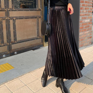ZARA - 【予約商品】ウエストゴム シャーリング スカート 韓国ファッション 秋服