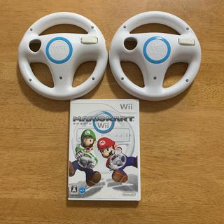 ウィー(Wii)のWiiソフト マリオカートWii ハンドル×2セット(家庭用ゲームソフト)