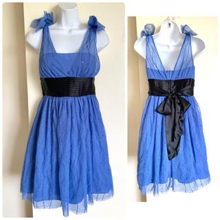 ビーシービージーマックスアズリア(BCBGMAXAZRIA)のBCBG BT chambray ブルー シルク チュール ドレス(ミディアムドレス)