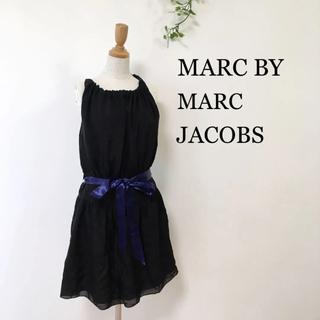 マークバイマークジェイコブス(MARC BY MARC JACOBS)のマークバイマークジェイコブス ウエストリボン キャミワンピース ブラック 黒(ひざ丈ワンピース)