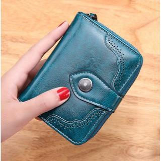 二つ折り 財布 緑色 大容量 小銭入れ コンパクト グリーン レディース 女性用(財布)