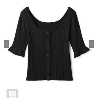 グレイル(GRL)のフロントボタンフレア袖リブニットトップス 黒 ブラック(Tシャツ(長袖/七分))