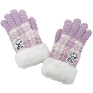 スヌーピー(SNOOPY)のSNOOPY スヌーピー 手袋 キッズ チェック柄 ファー付き★ピンク新品(手袋)
