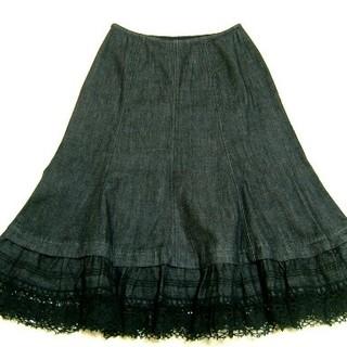 ピンクハウス(PINK HOUSE)のピンクハウスのブラックデニムスカート(ひざ丈スカート)