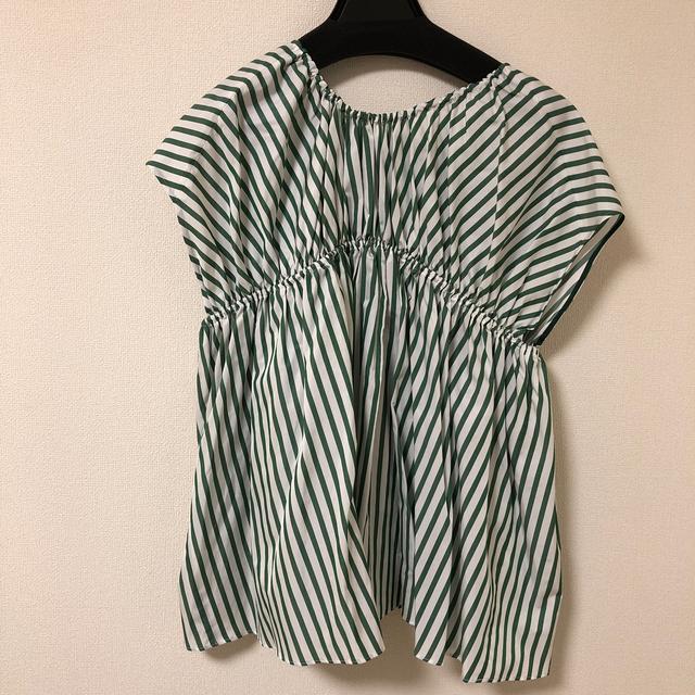 Drawer(ドゥロワー)のうりこ様専用⭐︎Drawer ストライプブラウス グリーン 36 レディースのトップス(シャツ/ブラウス(半袖/袖なし))の商品写真