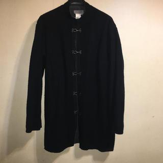 ヨウジヤマモト(Yohji Yamamoto)の美品 ヨウジヤマモト プールオム  縮絨 ウール混 ノーカラー コート M L(ダッフルコート)