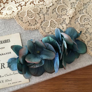 アンティークブルー紫陽花のバレッタ(ヘアアクセサリー)