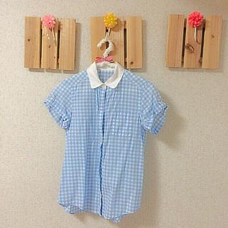 ジーユー(GU)のGU ギンガムチェック ブルー(シャツ/ブラウス(半袖/袖なし))