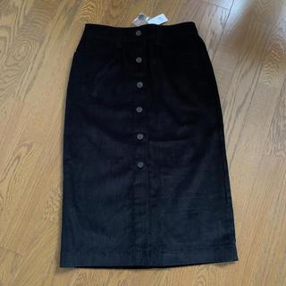 ギャップ(GAP)のコーデュロイ タイトスカート ブラック 未使用 タグ付き(ロングスカート)