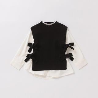 petit main - リブニットベスト×スタンドカラーシャツセット