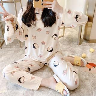 ちびまるこちゃんパジャマセット長袖 部屋着アップ大人用ルームウェア 可愛い