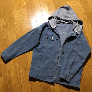 ◆韓国服◆パーカー付きジージャン◆バックワッペン(Gジャン/デニムジャケット)