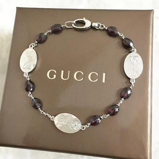 Gucci - 正規品 グッチ ブレスレット シルバー プレート ストーン SV925 レッド石