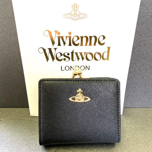 Vivienne Westwood(ヴィヴィアンウエストウッド)のヴィヴィアンウエストウッド がま口 折り財布 黒 レディース レディースのファッション小物(財布)の商品写真