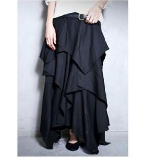 アンティカ(antiqua)の美品 antiqua アンティカ ティアードスカート ブラック フリーサイズ(ロングスカート)
