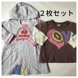 長袖Tシャツ 80cm 2枚セット キッズ 子供 長T まとめ売り 女の子 洋服