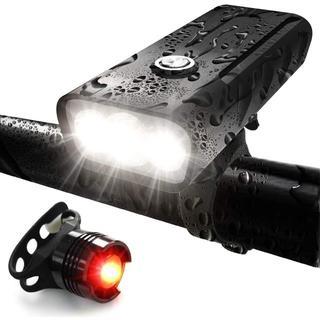 【USB充電式】【800ルーメン】【3段階照明モード】【防水】自転車 ライト
