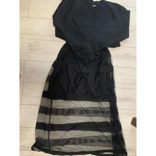 ウィゴー(WEGO)のスウェット、チュールスカート ブラックコーデセット売り(ひざ丈スカート)