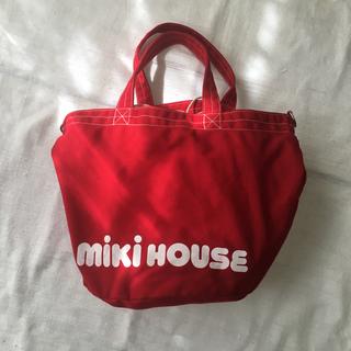 ミキハウス(mikihouse)のMIKI HOUSE バケツ型 トートバッグ コラボ バッグ 非売品 レッド(マザーズバッグ)