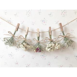3種のバラとかすみ草のふんわりホワイトドライフラワーガーランド♡スワッグ♡ブーケ