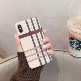 大人気 iPhoneX チェック柄 ブラウン系 ソフトケース