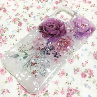 【新品】花柄 薔薇 エレガント 紫 パープル キラキラ iPhone11ケース