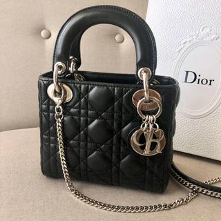 ディオール(Dior)の【美品】Dior レディディオールミニ シルバー(ハンドバッグ)