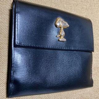 スヌーピー(SNOOPY)のスヌーピー レザー財布(ブラック)(財布)
