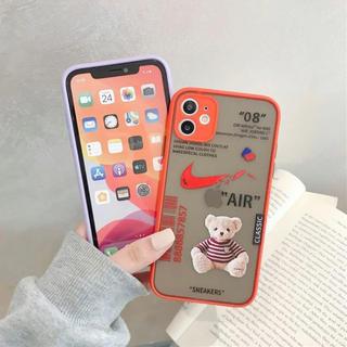 iPhone各種ケースカバー アイフォン 熊くん 紫、赤