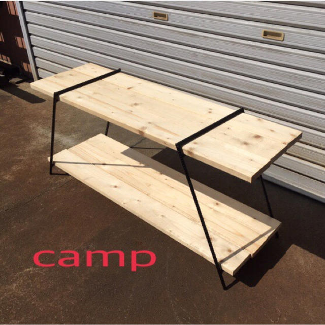 高さ450アイアンラック インテリア/住まい/日用品の机/テーブル(アウトドアテーブル)の商品写真