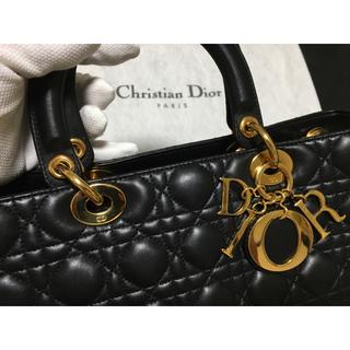 ディオール(Dior)の【極美品!】Dior レディ ディオール カナージュ レザー ブラック 黒(ハンドバッグ)