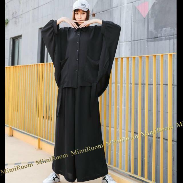 上下セット!~4L5L6L【大きいサイズ】ドルマントップス+ワイドパンツ レディースのレディース その他(セット/コーデ)の商品写真