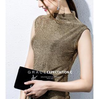 リリーブラウン(Lily Brown)のキラキラノースリーブトップス 秋 レディース 韓国ファッション (タンクトップ)