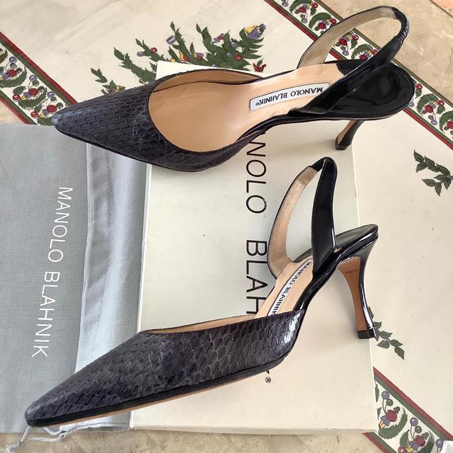 MANOLO BLAHNIK(マノロブラニク)の美品!憧れのマノロブラニク キャロリン上級ライン パイソン仕様 23.5~24㎝ レディースの靴/シューズ(ハイヒール/パンプス)の商品写真