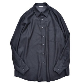 COMOLI - AURALEE SUPER LIGHT WOOL SHIRT black 4