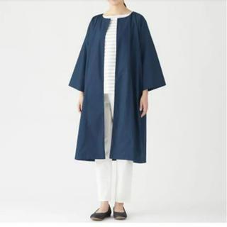 MUJI (無印良品) - 無印良品 ノーカラー コート スプリングコート