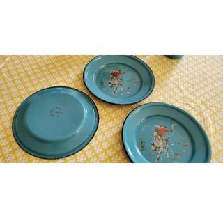 キャスキッドソン(Cath Kidston)のキャスキッドソン お皿 三枚組 レア ホーロー キャンプにピクニックに(食器)