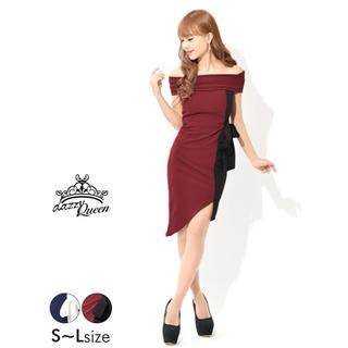 デイジーストア(dazzy store)のキャバドレス オフショルダータイトアシメントリー ワインレッド M(ナイトドレス)